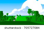 farmland rural cartoon... | Shutterstock . vector #705727084