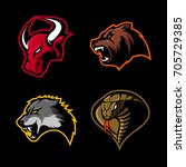 furious bull  bear  wolf and...   Shutterstock .eps vector #705729385