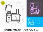 food processor line icon ... | Shutterstock .eps vector #705729517