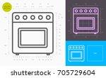 oven line icon  golden section  | Shutterstock .eps vector #705729604