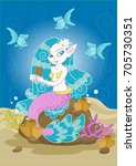 vector drawing of a mermaid... | Shutterstock .eps vector #705730351