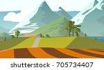 farmland rural cartoon... | Shutterstock . vector #705734407