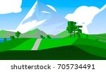 farmland rural cartoon... | Shutterstock . vector #705734491