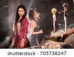 sexy women standing near the... | Shutterstock . vector #705738247
