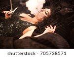 portrait of beautiful woman... | Shutterstock . vector #705738571