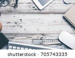 office stuff and stationery...   Shutterstock . vector #705743335