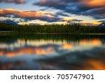 scenic sunset over herbert lake ...   Shutterstock . vector #705747901