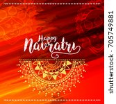 illustration of happy navratri...   Shutterstock .eps vector #705749881