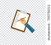 hand holding clipboard with... | Shutterstock .eps vector #705750211
