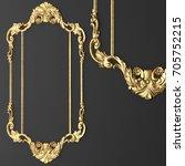 3d rendering gold stucco frame | Shutterstock . vector #705752215