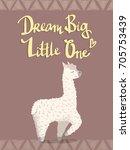 cute cartoon lama alpaca with... | Shutterstock .eps vector #705753439