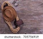 lasso and cowboy hat   Shutterstock . vector #705756919
