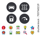 transport icons. car tachometer ... | Shutterstock .eps vector #705760219
