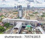 Small photo of Top view the day Tao -Poon station of Bangkok district bang sue. Sky train new intersection of blue line red line and purple line of MRT.
