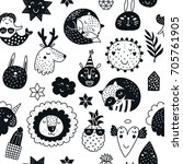 vector seamless pattern with... | Shutterstock .eps vector #705761905