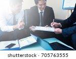business team working on... | Shutterstock . vector #705763555