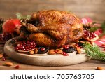 composition with whole roasted... | Shutterstock . vector #705763705