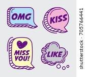 icon set pop art comics | Shutterstock .eps vector #705766441