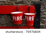 Red Fire Buckets At An Old...