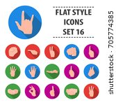 hand gestures set icons in flat ... | Shutterstock .eps vector #705774385