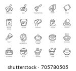 line isolated icons on kitchen... | Shutterstock .eps vector #705780505