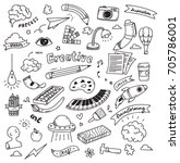 set of creativity doodle... | Shutterstock .eps vector #705786001