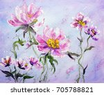 hand painted modern style pink... | Shutterstock . vector #705788821