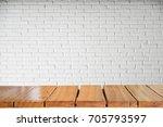 empty top of natural wooden... | Shutterstock . vector #705793597
