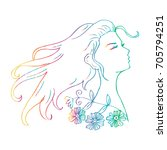 beautiful doodle girl silhouette | Shutterstock .eps vector #705794251