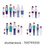 flat vector family set. big... | Shutterstock .eps vector #705795535
