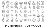 big set of halloween outline... | Shutterstock .eps vector #705797005