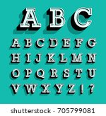 retro alphabet. vector... | Shutterstock .eps vector #705799081