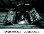 Horror Woman In Window Wood...