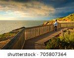 woman at hallett cove boardwalk ... | Shutterstock . vector #705807364