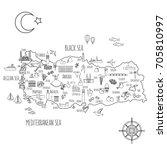 turkey cartoon travel map... | Shutterstock .eps vector #705810997
