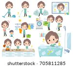 set of various poses of blue... | Shutterstock .eps vector #705811285