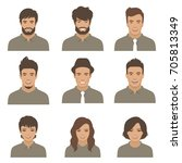 vector people faces. woman  man ... | Shutterstock .eps vector #705813349