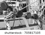 masts of a sailing vessel. ... | Shutterstock . vector #705817105