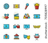 cinema line flat icons | Shutterstock .eps vector #705828997