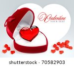 red velvet heart shaped gift... | Shutterstock . vector #70582903