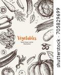 vegetables top view frame.... | Shutterstock .eps vector #705829699