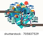 city athletes running on urban... | Shutterstock .eps vector #705837529