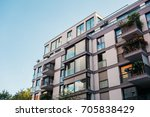apartment building with modern... | Shutterstock . vector #705838429