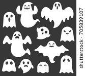 set of cute ghost creation kit  ...   Shutterstock .eps vector #705839107