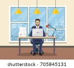 office workplace with table ...   Shutterstock .eps vector #705845131