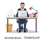 business man entrepreneur in a... | Shutterstock .eps vector #705845149