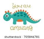 cute dinosaur vector... | Shutterstock .eps vector #705846781