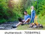 dad with laptop and daughter... | Shutterstock . vector #705849961