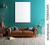 mock up poster in classic... | Shutterstock . vector #705854245