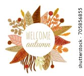 a floral round frame  border or ... | Shutterstock .eps vector #705856855